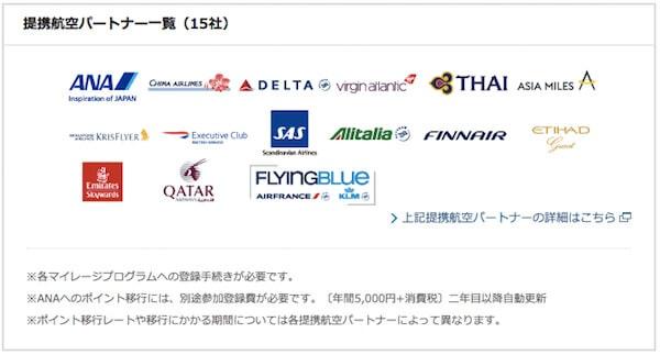 アメックスポイントの移行航空会社